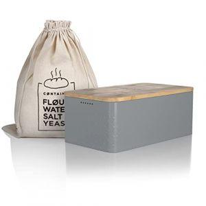 Lars NYSØM Boîte à Pain I Boite a Pain avec Sac en Lin pour Une fraîcheur Durable I Couvercle en Bambou de Haute qualité pouvant être utilisée comme Planche à découper I 33x19x12 cm (Lars Nysom, neuf)