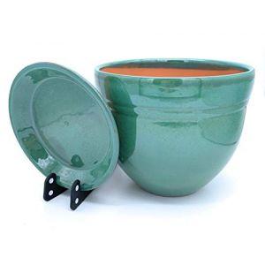 Sun Cakes Galla Pot de Fleurs en céramique émaillée avec Soucoupe, Céramique, Vert, 33cm x 27cm (suncakes, neuf)