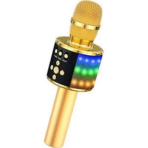 BONAOK Microphone Sans Fil, 4 en 1 Micro Karaoké Bluetooth LED Lampe Coloré lecteur Haut-parleur Enregistreur portable, Karaoké Enfant de Fête familial pour Ordinateur et Smartphone Android/iOS (BONAOK FR, neuf)