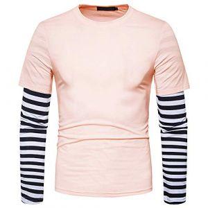 Coloré(TM) Homme T-Shirts de Sport Manches Longues Vêtements de Fitness Jogging (XL, Rose) (colorful_JYC, neuf)