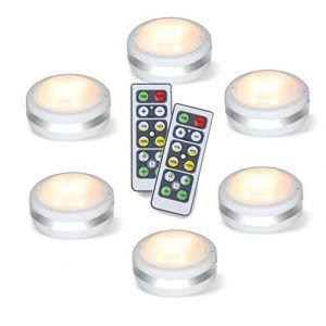 Spot sans Fil, Lampe de Placard, Lumiere Spot Led Autocollant, Eclairage Telecommande Alimenté Par Batterie, Paquet de 6, Blanc Chaud (Premiumstar, neuf)