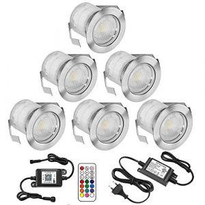 Lampe au Sol Spot Encastrable+Wifi contrôleur-Lumière RGB DC12V 0.5W étanche IP67 Ø30mm-éclairage pour terrasse, patio, chemin, mur, jardin, décoration, intérieur et extérieur (INDARUN-EU, neuf)