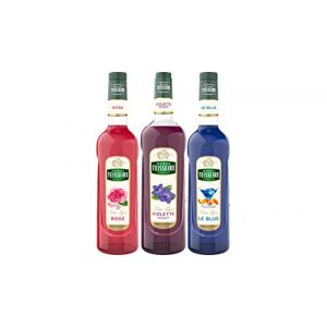 Assortiment apéro qui détonne : sirop de rose, de violette, de blue façon curacao (THE SIROP SHOP, neuf)