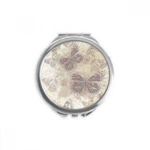 DIYthinker papillon vintage élégant gris fond d'écran miroir rond maquillage de poche à la main portable 2,6 pouces x 2,4 pouces x 0,3 pouce Multicolore (bestchong, neuf)