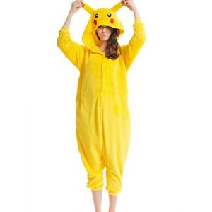 mauea Pyjama Animaux Cosplay Halloween Costume Déguisement Combinaison Vêtement de Nuit Adulte Femme Homme Unisexe (Pikachu,XL) (Mauea Shop, neuf)