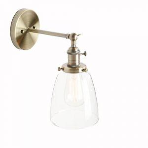 Pathson Réglable Applique Verre Cloche Abat-jour Luminaire Rétro Industrial Lampe Murale Rétro Eclairage Bronze (Pathson (Europe), neuf)