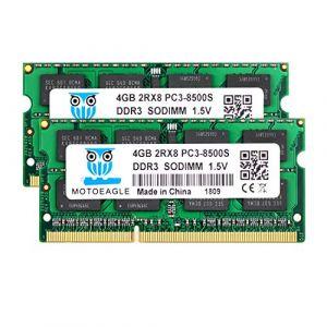 motoeagle DDR3 1066 SODIMM PC3 8500S 8Go (2x4Go) DDR3 1066MHz 4GB PC3 8500 204-Pin CL7 1.5V d'ordinateur Portable Mémoire RAM (Motoeagle, neuf)