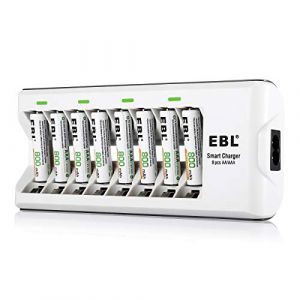 EBL 808A Chargeur de Piles pour 8 accus AA/AAA Ni-MH/Ni-Cd avec 8 AAA 800mAh Piles Rechargeables (Poweradd, neuf)