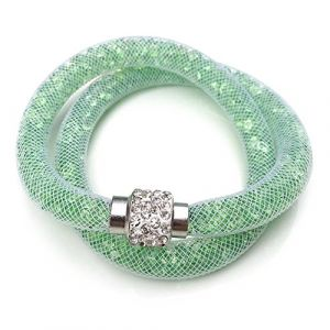 Bracelet double rangée avec des cristaux de paillettes et Shamballa Ball Tendance Bijoux Bijoux Fashion en couleur menthe de la marque MyBeautyworld24 (MyBeautyworld24, neuf)