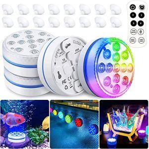 BOZHZO Lampe Piscine LED Lumière Submersibles, Éclairage Piscine LED Temps d'éclairage 30-50 heures IP68 Étanche 16 RGB Couleurs Lampes Décoratives pour Aquariums/Baignoire/Vase/Piscine/Étangs (4 Pcs) (zoee, neuf)