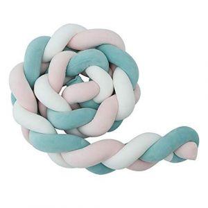 Tour de Lit Bébé Coussin Serpent Tressé Berceau Tressé Bébé lit Bumper en Peluche Pépinière Pour les Nouveau-nés lit Sommeil (Rose + blanc + bleu,300cm) (Runyujinshuz, neuf)