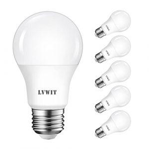 Ampoule LED E27 8.5W LVWIT, Equivalent à incandescence 60W, 6500K Blanc Froid, 806Lm, Lot de 6, Non-Dimmable (LED MALL, neuf)