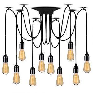 Lightsjoy Suspension Vintage Industriel Lustre Retro Métallique Eclairage de Plafond Luminaire Spider Pendentif Lampe avec 10 Bras Pour Chambre Restaurant Bar(Pas d'ampoule) (Topsalesss, neuf)