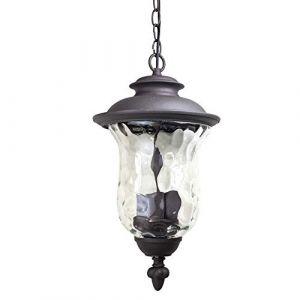 Kactera E27 Rétro extérieur en aluminium Lustre Suspension, étanche Balcon Aisle Hanging lumière, verre Lanterne droplight Cour Éclairage Stand de plafond (Xin Hongming, neuf)
