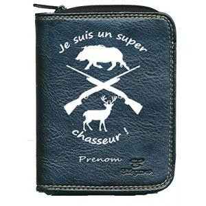 Porte monnaie porte carte noir Super chasseur personnalise avec prenom (sylla city, neuf)