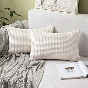 """MIULEE Housses de Cousssin en Polyester Doux Granulés Carré Taies d'oreiller avec Grands Granules décoratifs Solid pour Canapé Chambre Voiture Salon 30x50cm 12""""x20"""",2 pièces Beige (MIULEE HOME, neuf)"""