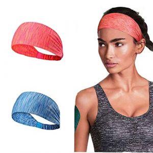 Ushiny Bandeaux de sport Boho Bandeau élastique pour cheveux avec bandeau de yoga pour la course à pied, femmes et filles. (Bleu) (Ushiny, neuf)