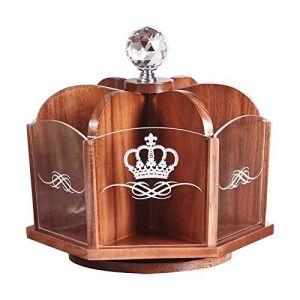 Boîte de rangement cosmétique support de bureau en bois 360 degrés tournant coiffeuse salon télécommande boîte cadeau pour petite amie (Color : WOOD, Size : 24.3 * 24.3 * 23.5CM) (jia si xiang seller, neuf)