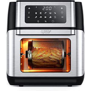 Innsky Friteuse sans huile 10L, Mini-four 1500W, Friteuse à air chaud 10 en 1 avec affichage LED, un déshydrateur de fruits, mais aussi un grill, 6 accessoires et livre de recettes-acier inoxydable (TenFey, neuf)