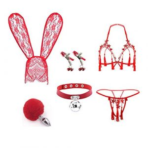Bunny Hairhoop & Tail Âñål ?ˆl?g Maid Underwear Lingerie Set pour Femme Costume Party Mascarade Cosplay (Jin Yulong, neuf)