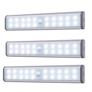 Lampe Armoire,Éclairage d'armoire à détecteur de mouvement,éclairage d'armoire de rangement sans fil à avec batterie rechargeable intégrée,éclairage de nuit magnétique à coller,pour placard de cuisine (KXZL, neuf)
