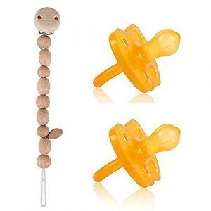 Hevea - Lot de 2 tétines de 3 à 36 mois - Caoutchouc naturel - Couronne - Forme ronde - Chaîne pour tétine Heimess en perles naturelles (babywaren24, neuf)