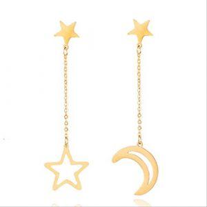Boucles d'oreille pour femmes minimaliste argent doré étoile et lune long pendentif boucles d'oreilles pour femmes et filles mariage fiançailles accessoiresor (Graceguoer, neuf)