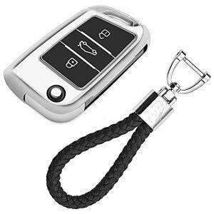Coque en Silicone pour Clé VW Volkswagen - Cover Housse TPU Souple en Chrome pour Télécommande VW Golf MK7 Tiguan Passat Seat Ibiza Leon Skoda Octavia Porte-clé Protection (Argent) (KiJi, neuf)