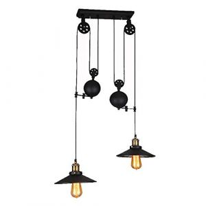 lustre vintage suspension,lustre vintage industriel, COCOL Bar E27 Lampe à Suspension, Lustre Industriel en Métal, Suspension Style Roue avec Wave Retro Réglable-Noir (Color : Double tête) (LITTLE DEVIL, neuf)