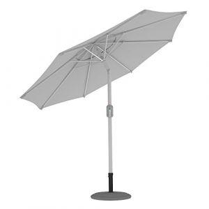 PARAMONDO Interpara parasol  Parasol pour jardin et balcon  3,5m (rond / blanc) / compris support et le pied parasol (argent) (Jalousiescout Shop, neuf)