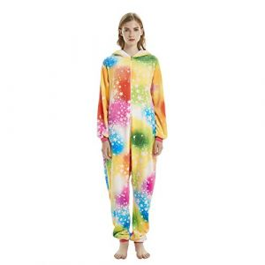 KiKa Monkey Licorne Pyjama Adulte Unisexe Animaux Cosplay Costume Halloween Noel Party costume (XL, Pyjama girafe) (Bunny_Deco_Art, neuf)