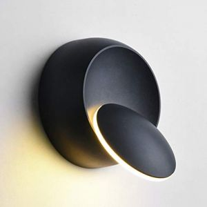 Appliques Murales Interieur Blanc Chaud Lampe Murale LED 5W Moderne Applique Murale Blanc Chaud Créatif Eclipse 2 en 1 Fer Applique Murale Lampe Led (Noire) (WanLianInc, neuf)