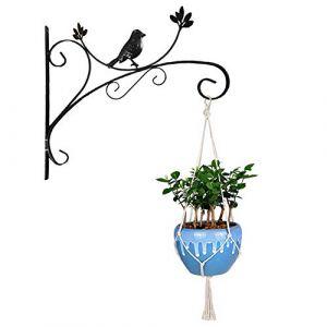 Yuccer Crochet Plante Suspendue, Suspension Mural Crochet Décoration de Jardin Support à Crochet en Fer pour Pot de Fleurs, Lanterne, Cloche de Vent (Noir) (Yuccers, neuf)