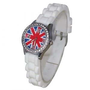 COFFRET MONTRE ENFANT ADO LONDON LONDRES + BRACELET SHAMBALLA UNION JACK (MONTRE-STYLE, neuf)