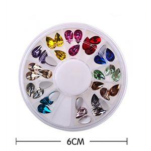 Holzsammlung 1 Boîte de Petit Strass Decoration Ongles Gel Tip Glitter rond Coloré en Résine pour Nail Art Manucure #50 (collecte de bois, neuf)