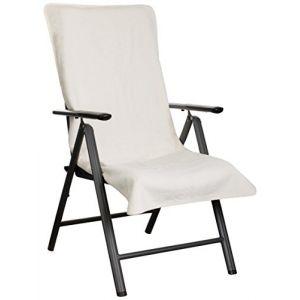 Brandsseller Housse de Protection en Tissu éponge pour Chaise Longue et Chaise Longue et Chaise Longue 100% Coton Crème/Blanc (brandsseller, neuf)