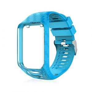 Peedeu pour Tomtom Montre Bracelet Silicone Bracelets de Remplacement pour Tomtom Runner 2 / Runner 3 / Spark 3 / Aventurier/Golfeur 2 Sports GPS Running (mumengla, neuf)