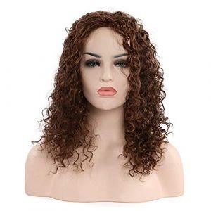 Perruque fashion noire et européenne avec dame noire petite cagoule frisée, brun clair (petrichor87, neuf)