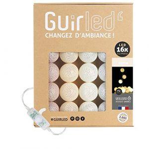 Guirlande lumineuse boules coton LED USB - Veilleuse bébé 2h - Adaptateur secteur double USB 2A inclus - 3 intensités - 16 boules 3.2m - Coton (Lighting Arena, neuf)