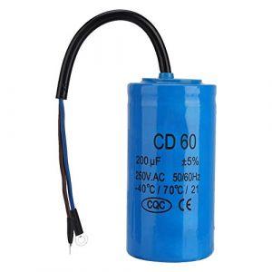 CD60 Condensateur de Fonctionnement,Condensateur de Moteur,Capacité: 200 uc,Résistant à la Chaleur et Anti-explosion,pour le Démarrage de Moteurs Monophasés avec Fréquence de 50Hz et 60Hz (ZunateU, neuf)