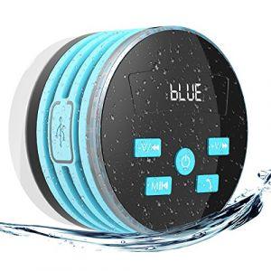 EXTSUD Enceinte Bluetooth Étanche IPX7 Radios de Douche 5W Mini Haut-Parleur Portable avec FM Radio pour Douche Camping Voiture Voyage,Bleu (EXPOWER, neuf)