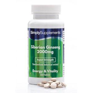 Ginseng Sibérien 2000mg | Haute Concentration | 360 Comprimés | 6 Mois d'Approvisionnement | Contient de la vitamine B5 | Adapté aux Végétariens | Fabriqué au Royaume-Uni (SimplySupplements, neuf)