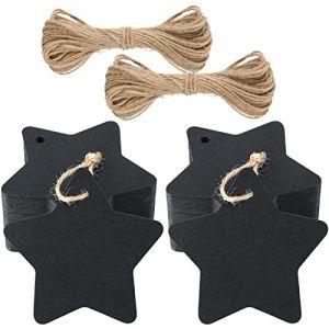 Lot de 100 étiquettes kraft en forme d'étoiles avec ficelle de jute naturelle 30 m noir (JiJia Handmade, neuf)