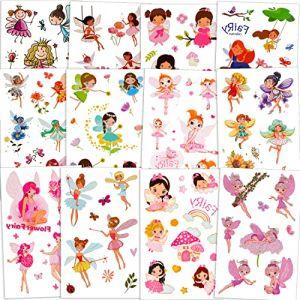 Qpout Fleur fée tatouages temporaires pour filles (120 + pcs), Jardin fée princesse fleur fée tatouage autocollant tatouages imperméables pour enfants fête d'anniversaire fée princesse fête cadeau (Qpout, neuf)