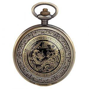 JewelryWe Montre à Gousset Poche Homme-Rétro Dragon Phénix Cadran-Quartz Analogique-Alliage-Chaîne-Bronze (JewelryWe Bijoux, neuf)