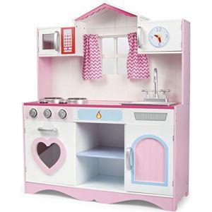 Cuisine Rose en Bois Jeu d'imitation , Bon appétit Tableau Cuisinière enfants Pink Play Kitchen Dimensions: 82x30x101 cm Jeux d'imitation (Leomark, neuf)