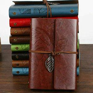 1X Carnet de Notes Blanc, Carnet de Voyage, Journal Intime, Diary Retro Notebook, Croquis Dessin Rechargeable Journal Cuir Vintage, Noël Saint Valentin Anniversaire Mariage Cadeau, 10cmx14.5cm (buzzfashion, neuf)