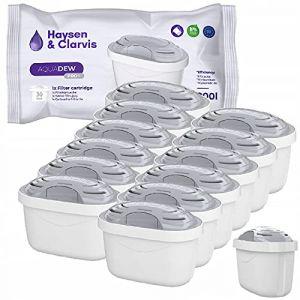Haysen & Clarvis Cartouche Filtrante pour Carafe - Compatible avec Brita Maxtra, AmazonBasics (Lot de 12) (Magnetic Mobel, neuf)