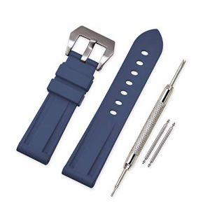 Vinband Bracelet Montre Camo Remplacer Silicone Bracelet Montre - 20mm, 22mm, 24mm, 26mm Caoutchouc Montre Bracelet avec Acier Inoxydable Boucle for Panerai (20mm, Navy Blue) (vinband direct, neuf)