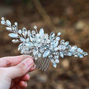 Peigne de mariage Simsly - Couleur opale bleue - Argent - Accessoire de cheveux pour ou demoiselle d'honneur - FS-106 (Simsly-UK, neuf)